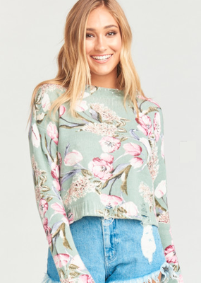 Show Me Your Mumu Cropped Varsity Sweater Primavera Floral Knit
