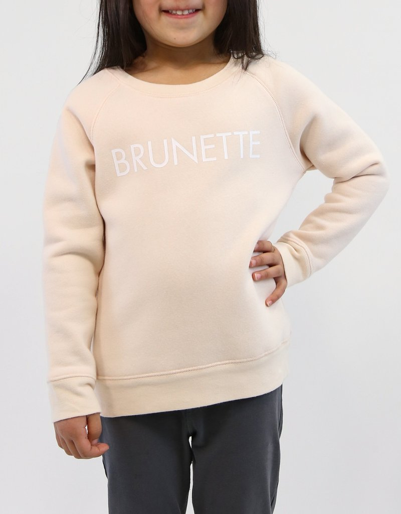 "Brunette the Label Little Babes Crewneck Sweatshirt ""Brunette"" Peach Crush"
