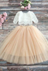 Ruffles & Bowties Lace Top and Tulle Skirt Flower Girl Set Champagne