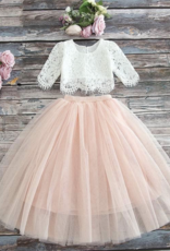Ruffles & Bowties Lace Top and Tulle Skirt Flower Girl Set Blush