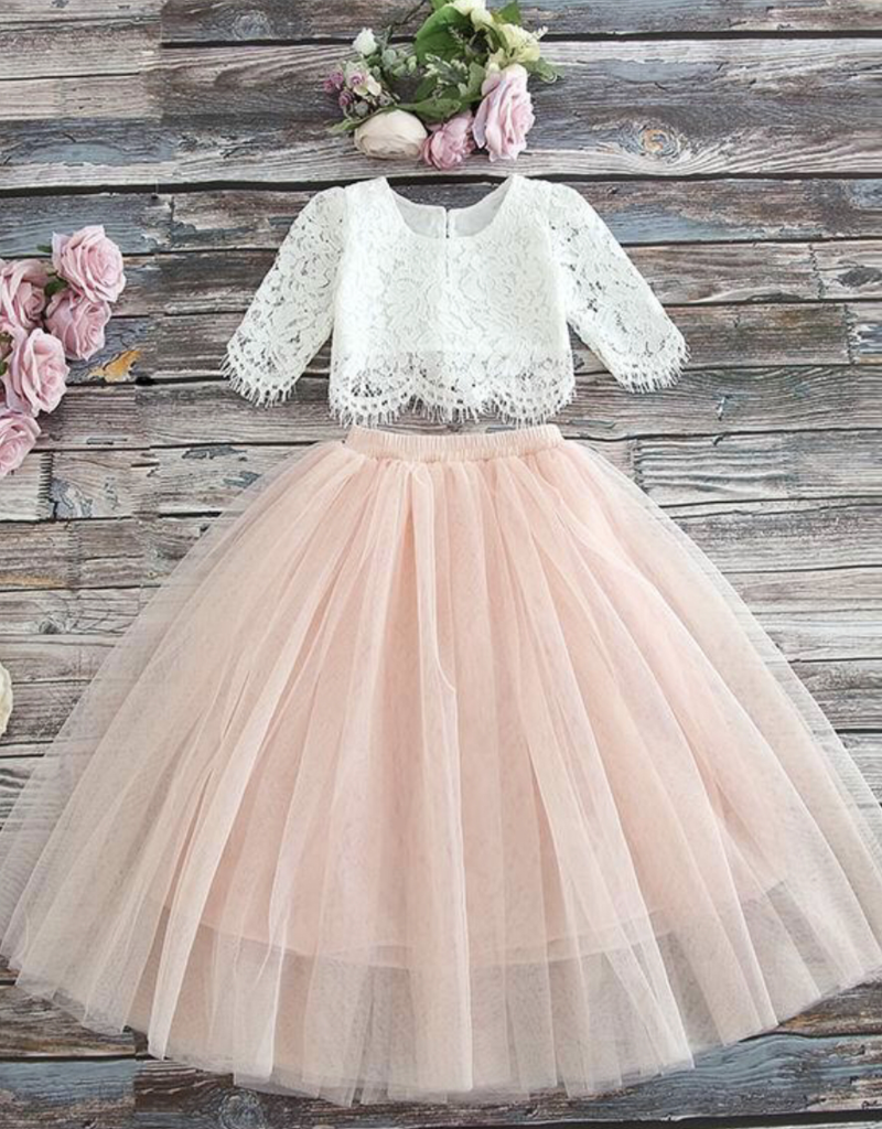 Ruffles & Bowties Lace Top and Tulle Skirt Flower Girl Set Dusty Blush