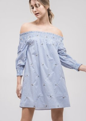 JOA Gemma Pinstripe Off-the-Shoulder Dress