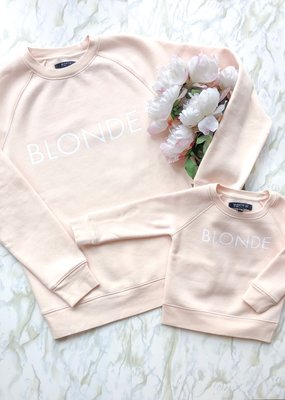 "Brunette the Label Brunette the Label - Little Babes Crewneck Sweatshirt ""Blonde"" Peach Crush"