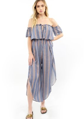 Saltwater Luxe Lincoln Off-The-Shoulder Stripe Jumpsuit