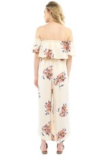 Saltwater Luxe Off-The-Shoulder Floral Wrap Pant Jumpsuit