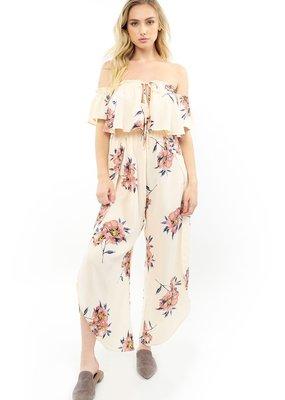 Saltwater Luxe Off-The-Shoulder Floral Wrap Pant Jumpsuit