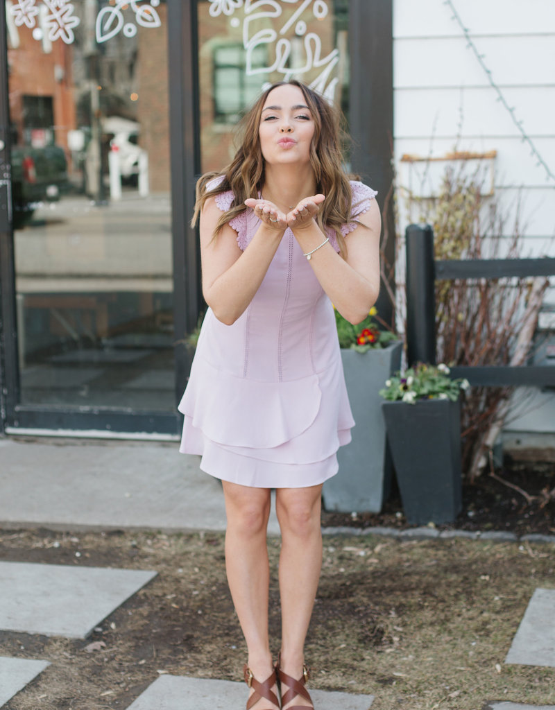 Adelyn Rae Shanti Woven Lace Shift Dress