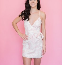 The JetSet Diaries The Jetset Diaries - Blush Marbled Topanga Wrap Mini Dress
