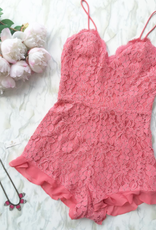 NBD Pink Sorbet Lace Romper