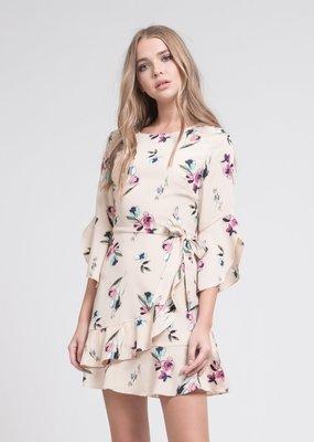 JOA Elsa Long Sleeve Faux Wrap Dress