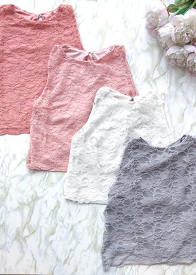 Sewn Designs *New* Sewn Designs - Blush Lace Crop Top