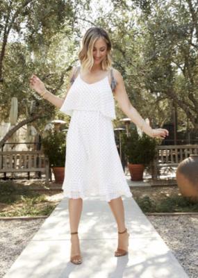 Cupcakes And Cashmere Latana White Tiered Polkadot Dress
