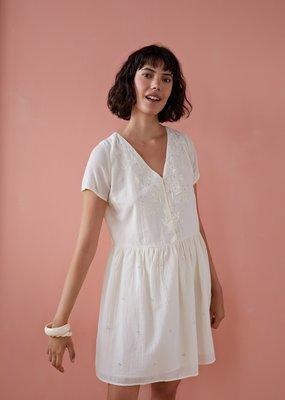 Des Petits Hauts Sabano White Dress With Gold Flecks