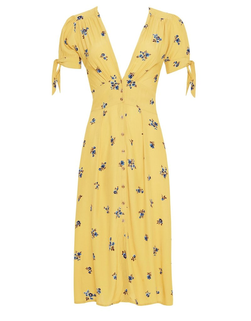 Faithfull Faithfull - Billie Midi Dress in Dolores Floral Yellow