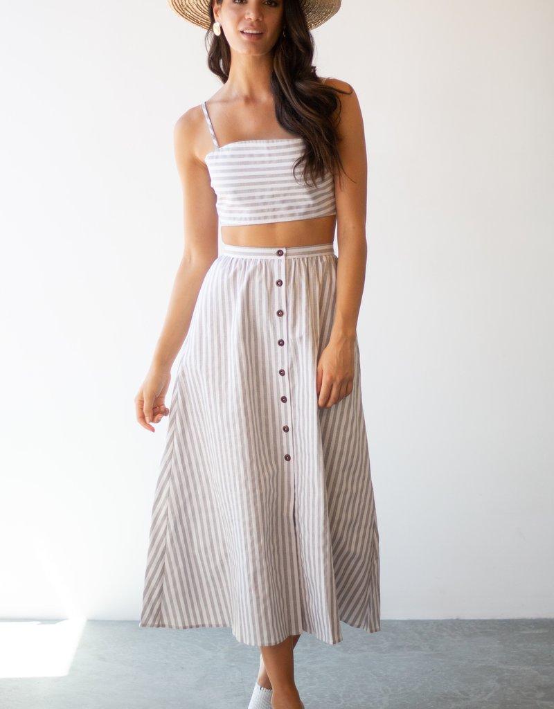 Maccs the Label Isabella Striped Tie Crop Top