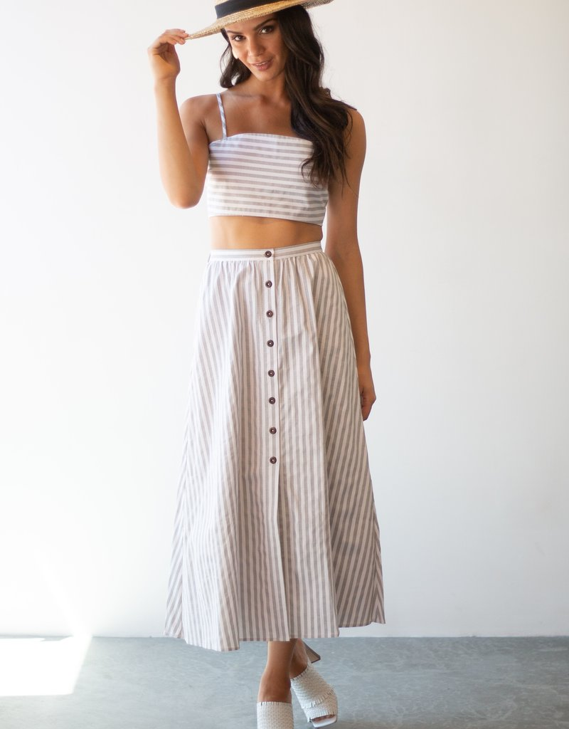 Maccs the Label Isabella Striped Skirt with Buttons