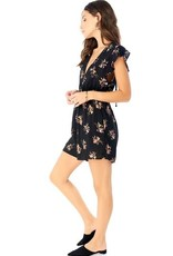 Saltwater Luxe Ruffle Sleeve Deep-V Floral Romper