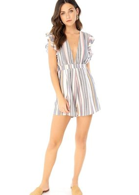 Saltwater Luxe Ryan Deep-V Striped Romper