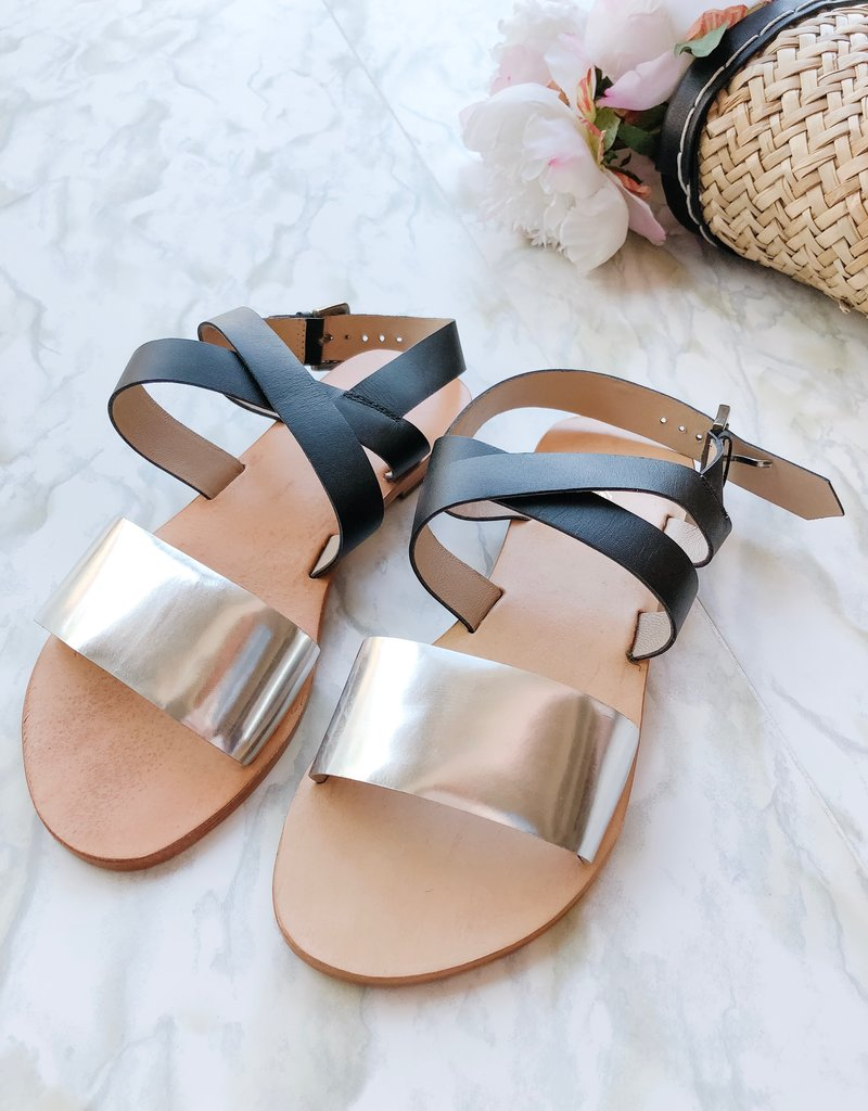 InWear Sabina Silver Metallic Leather Sandals