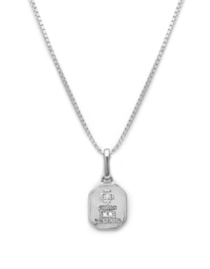 Leah Alexandra Leah Alexandra Square Love Token Necklace - Gold