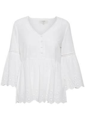 Cream Anais Cotton Eyelet Blouse