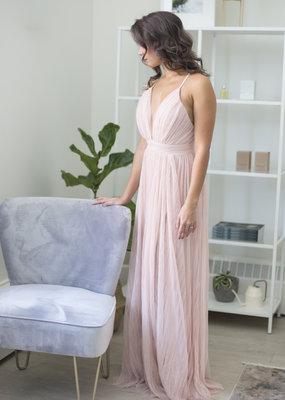Luxxel Natasha Pleated Maxi Dress in Nude