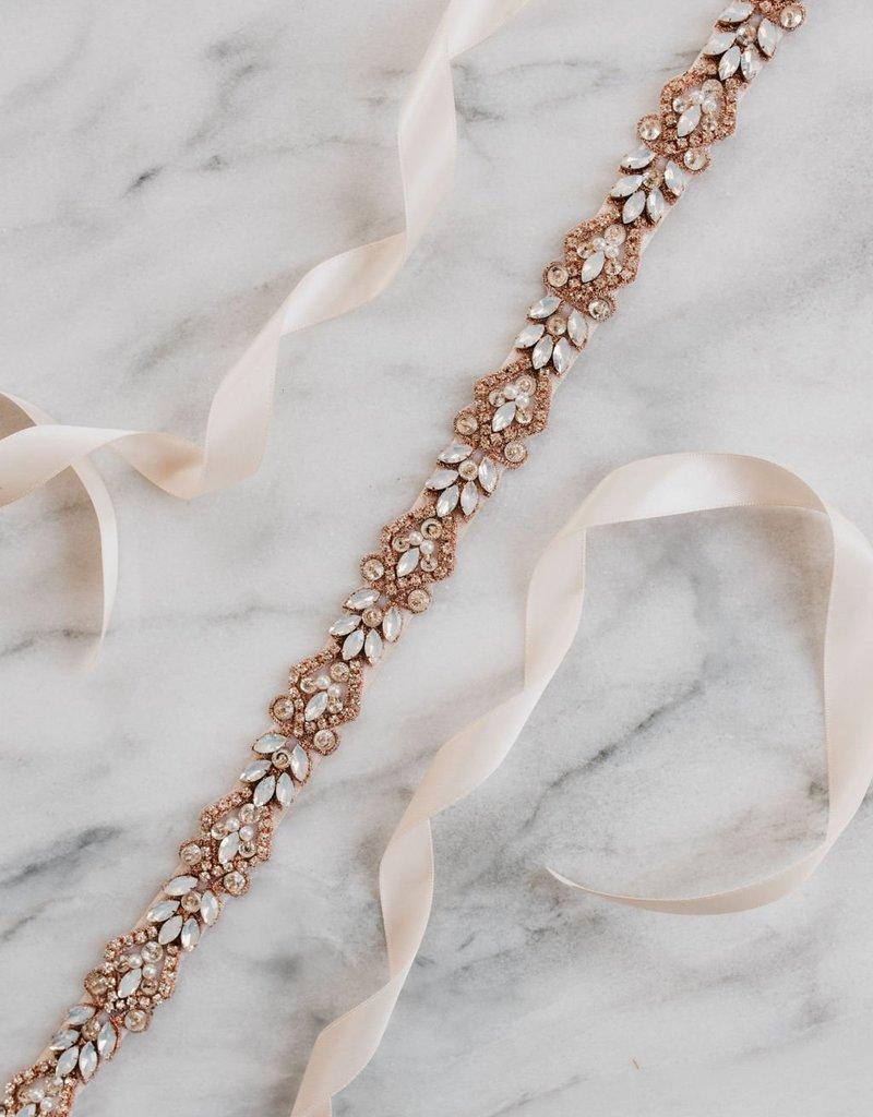 Luna & Stone Magnolia Sash - Rose Gold with Champagne Ribbon