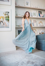 Luxxel Anneka Shimmer Maxi Dress Icy Blue