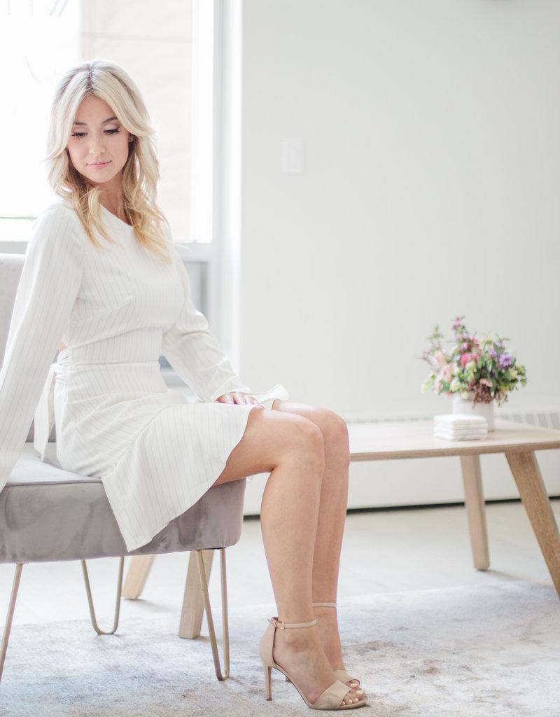 Finders Keepers Penny Pinstripe Long Sleeve Dress