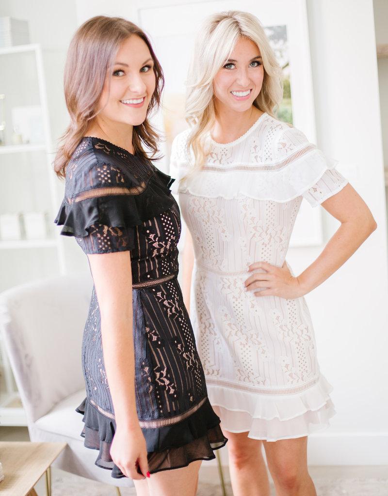 Adelyn Rae Anna Lace Dress- Black