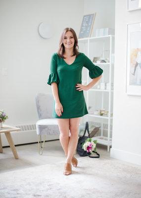 BB Dakota Power Shift Green Dress with Bell Sleeve