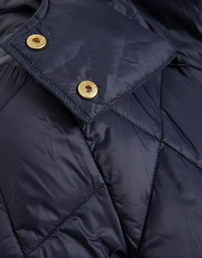 Part Two Sandra Quilted Jacket with Hood in Navy