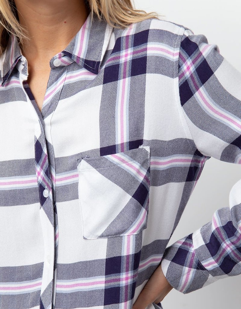 Rails Hunter Plaid Button Down- White Navy Fuschia