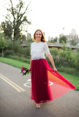 Luxxel Mesh Pleated Maxi Skirt - Wine