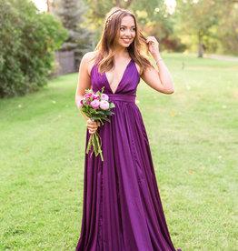 Luxxel Senya Satin Pleated Maxi Dress in Deep Purple