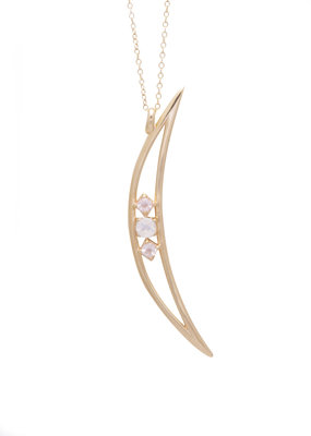 Sarah Mulder Crescent Moon Necklace in Gold with Rose Quartz and Moonstone