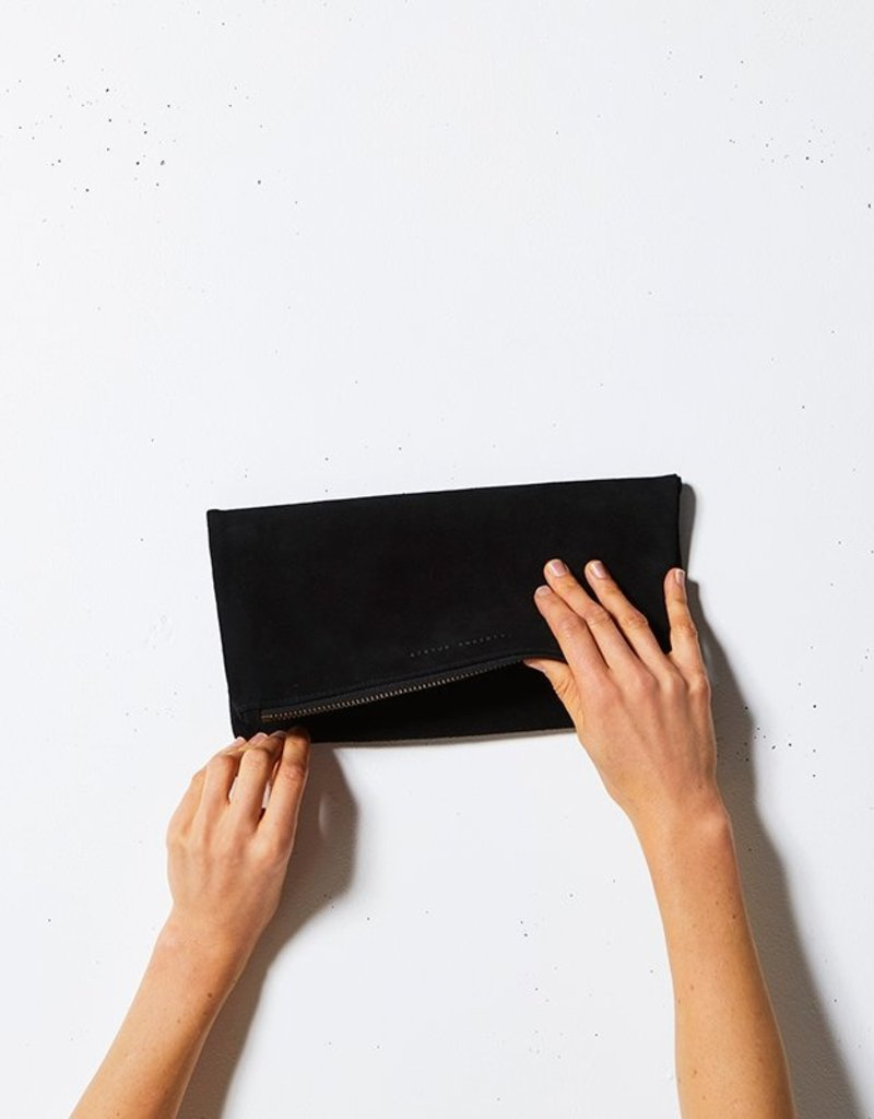 Status Anxiety Status Anxiety - Feel the Night Suede Foldover Clutch
