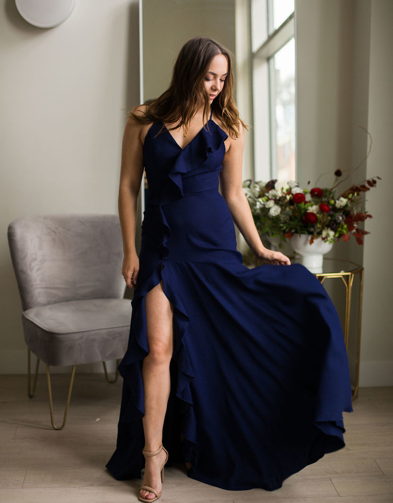 Minuet Mia Dress With Ruffles in Navy