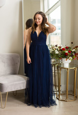 Minuet Sophia Tulle Maxi Dress with Lace in Navy