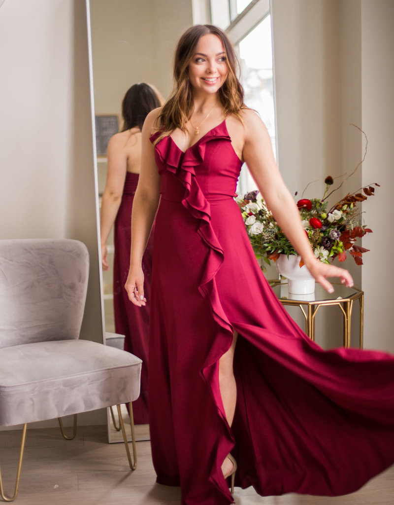 Minuet Gemma Maxi Dress with Ruffles in Wine