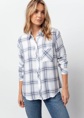 Rails Rails - Hunter Button Down in Blue-Grey Plaid