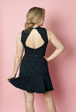 Shilla Lace Trim Dress with Polkadot Shadow Print