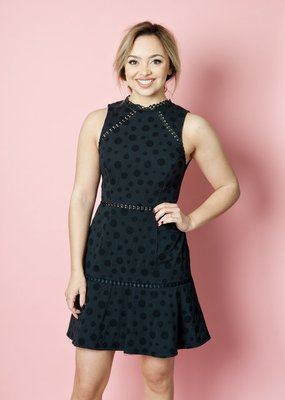 Shilla Anaya Lace Trim Dress with Polkadot Shadow Print