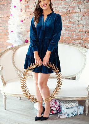 Part Two Viggase Dress in Blue Velvet