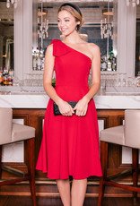 Gal Meets Glam One Shoulder Bow Dress in Ruby