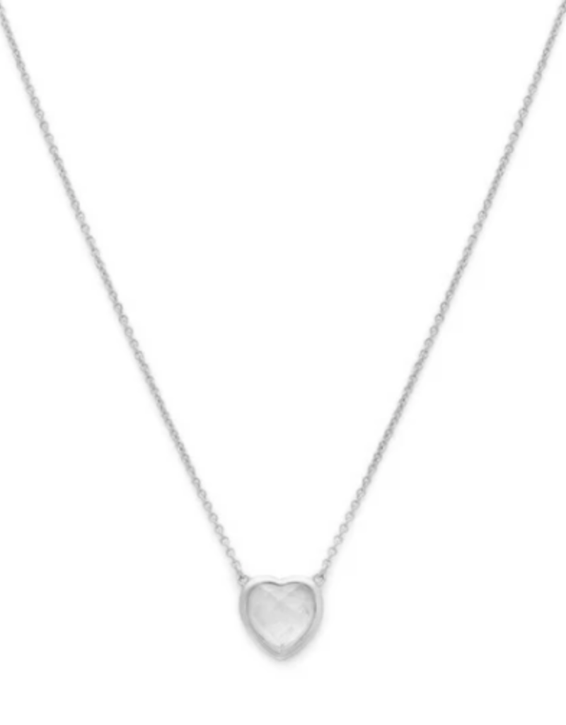 Melanie Auld Stone Heart Necklace - Silver