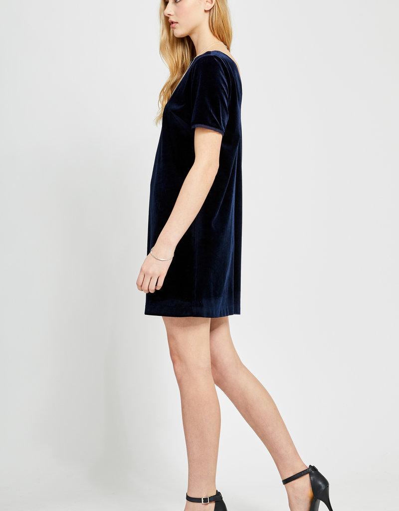 Gentle Fawn Claire Velvet T-Shirt Dress in Navy