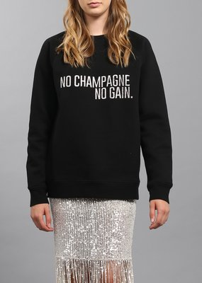 Brunette the Label BTL - No Champagne Silver Glitter Crew