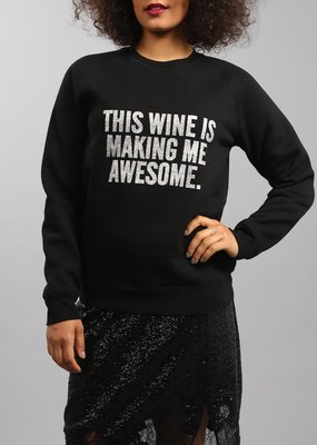 Brunette the Label BTL - This Wine Silver Glitter Crew