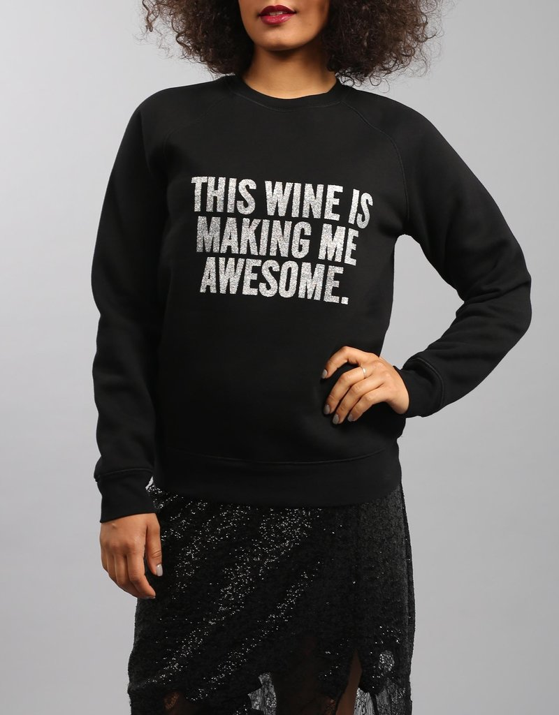 Brunette the Label This Wine Silver Glitter Crew
